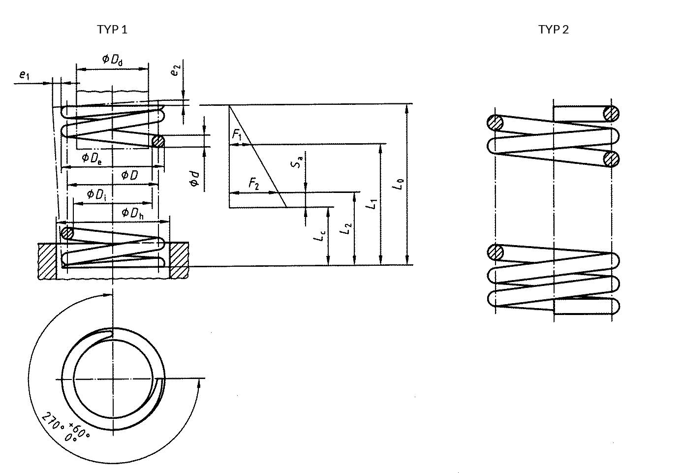 Fig. 11 Compression springs. With closed coil and ground ends - type 1; with closed ends - type 2; or without ends - open coils, not ground.
